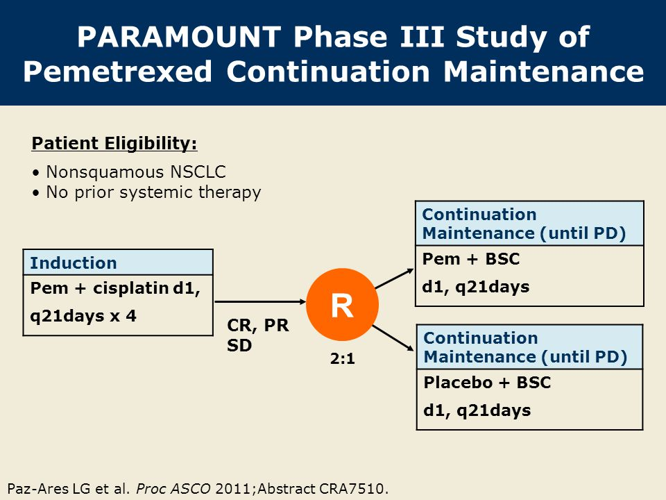 Paz-Ares LG et al. Proc ASCO 2011;Abstract CRA7510. PARAMOUNT Phase III Study of Pemetrexed Continuation Maintenance Induction Pem + cisplatin d1, q21