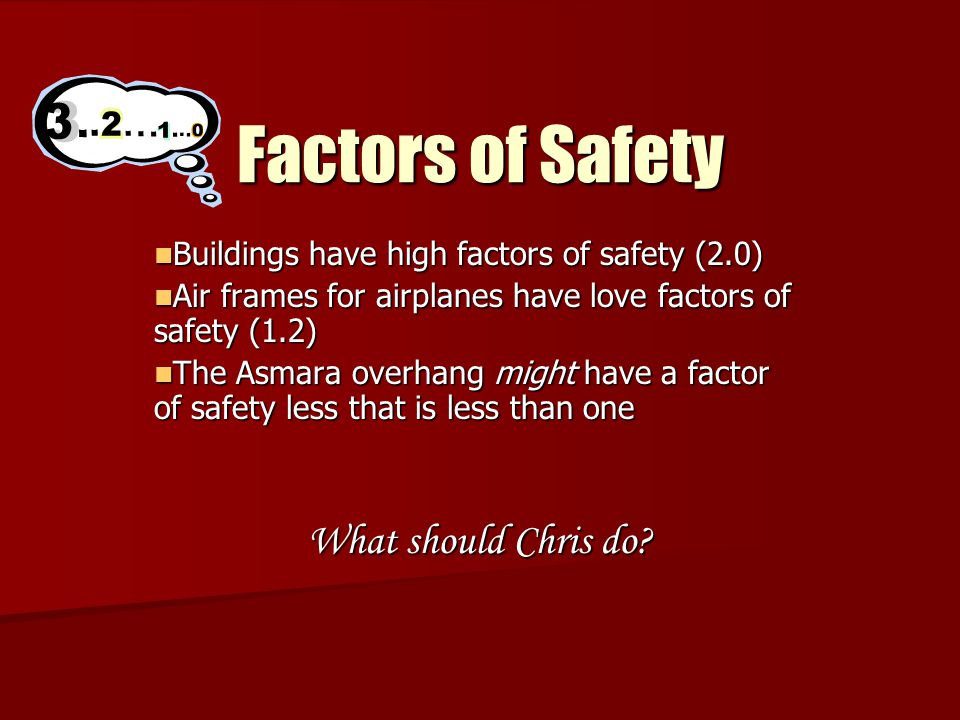 Factors of Safety Buildings have high factors of safety (2.0) Buildings have high factors of safety (2.0) Air frames for airplanes have love factors of safety (1.2) Air frames for airplanes have love factors of safety (1.2) The Asmara overhang might have a factor of safety less that is less than one The Asmara overhang might have a factor of safety less that is less than one What should Chris do?