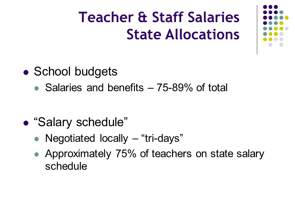 """Teacher & Staff Salaries State Allocations School budgets Salaries and benefits – 75-89% of total """"Salary schedule"""" Negotiated locally – """"tri-days"""" Ap"""