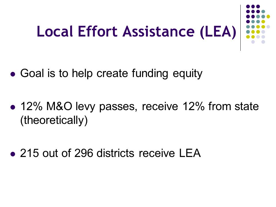 Local Effort Assistance (LEA) Goal is to help create funding equity 12% M&O levy passes, receive 12% from state (theoretically) 215 out of 296 distric