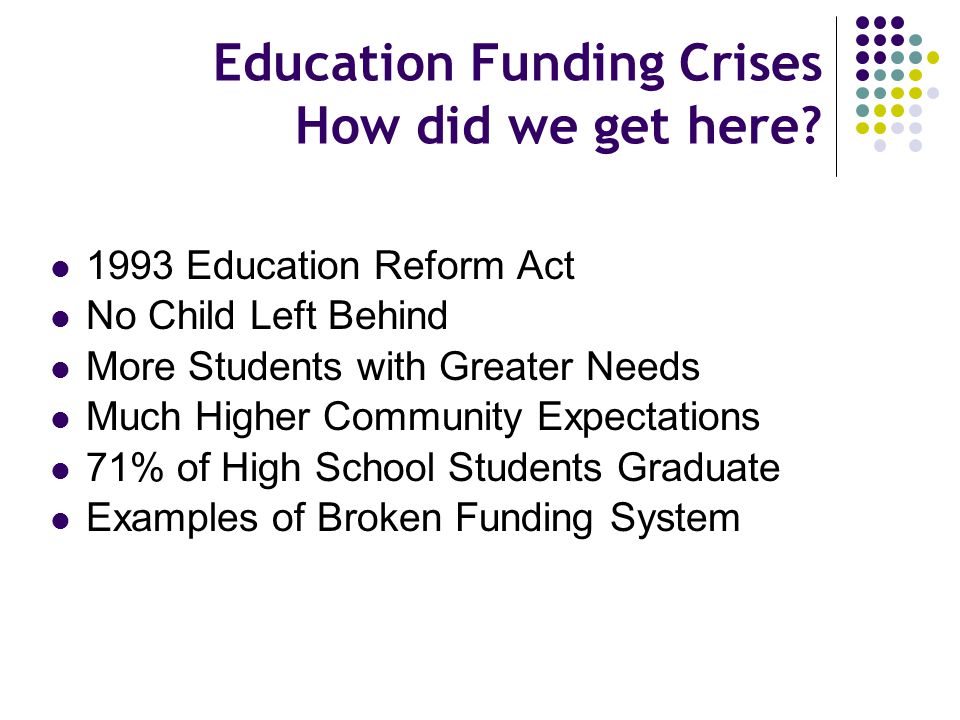 Education Funding Crises How did we get here? 1993 Education Reform Act No Child Left Behind More Students with Greater Needs Much Higher Community Ex