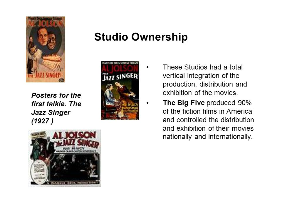 Studio Ownership There were three tiers of ownership during the 1930s.
