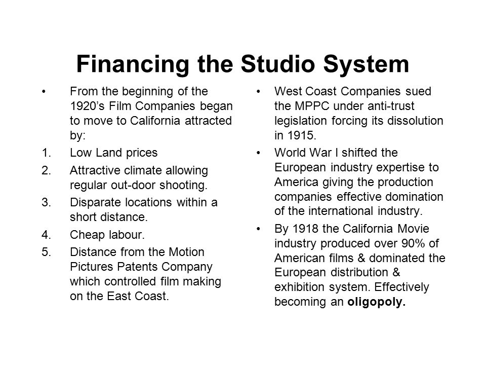 FINANCING THE STUDIO SYSTEM