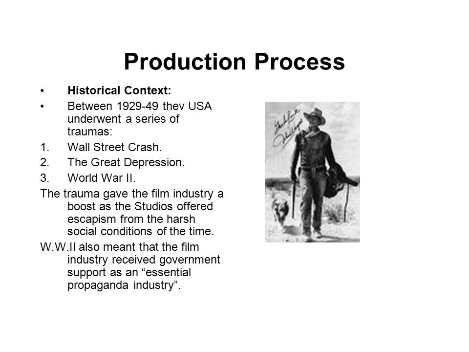 Production Process The Studio style developed Generic story structures or Genre.