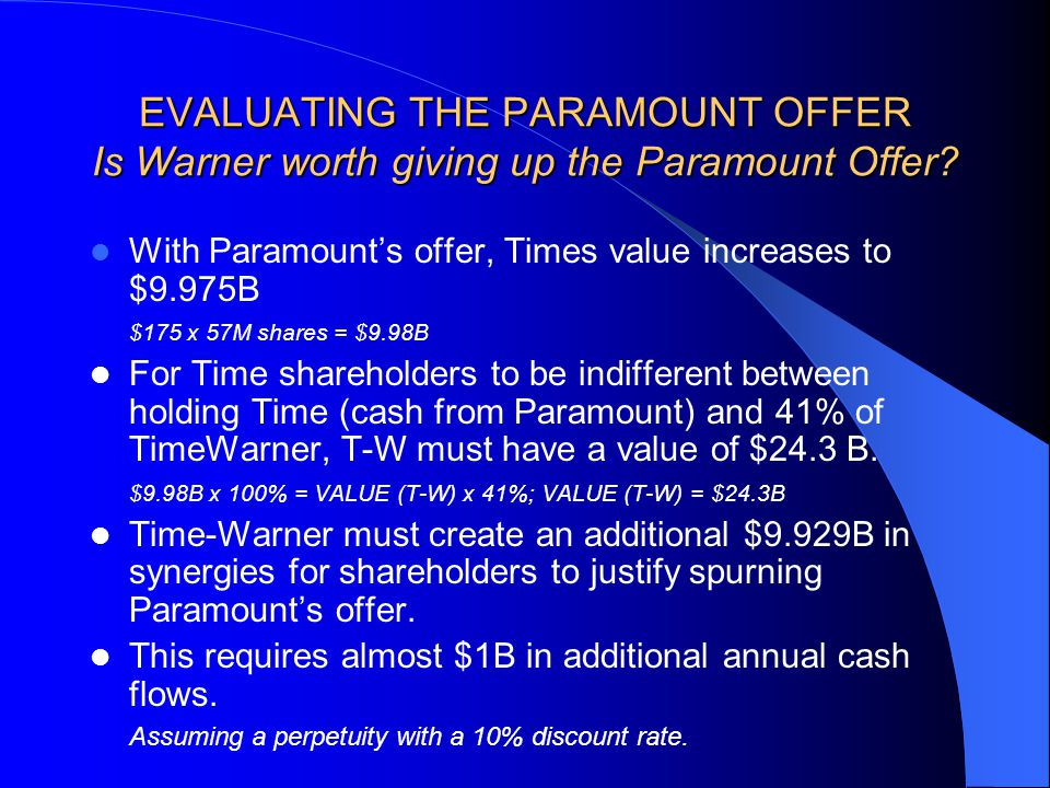 EVALUATING THE PARAMOUNT OFFER Is Warner worth giving up the Paramount Offer.