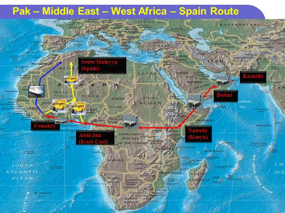 24 Pak – Middle East – West Africa – Spain Route Dubai Nairobi (Kenya) Nairobi (Kenya) Abid Jan (Ivory Cost) Seute/Malayya (Spain) Karachi Conakry