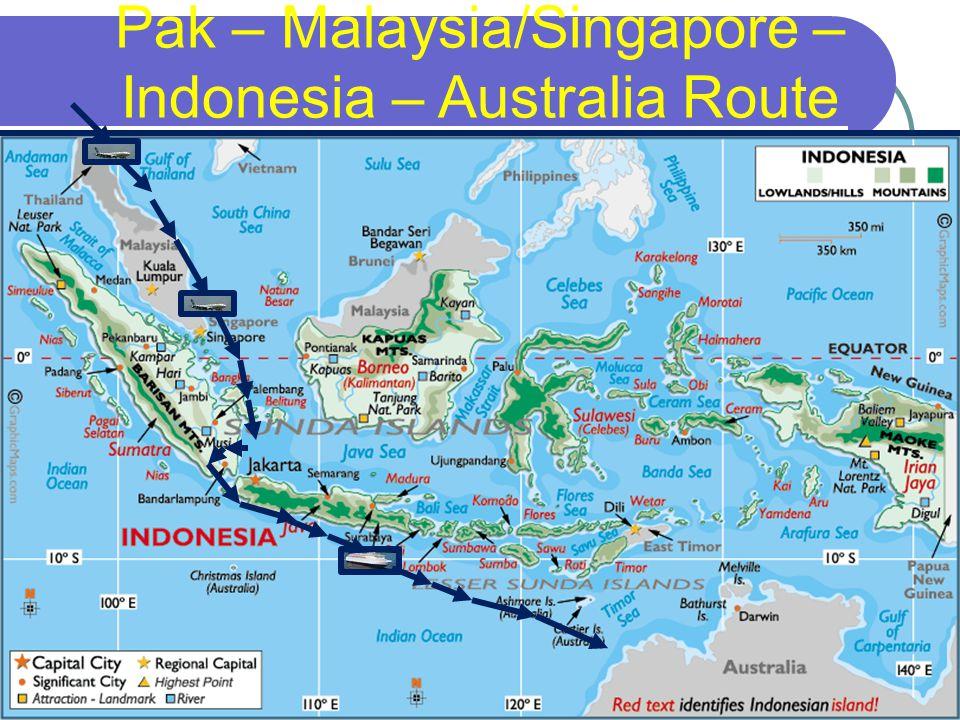 36 Pak – Malaysia/Singapore – Indonesia – Australia Route