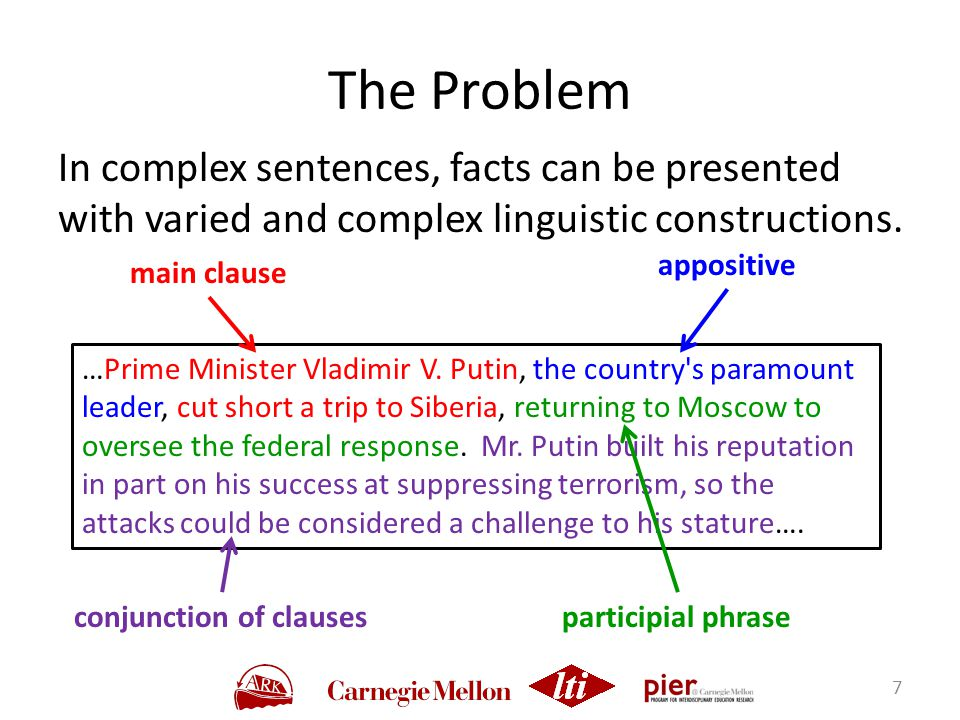 In complex sentences, facts can be presented with varied and complex linguistic constructions.