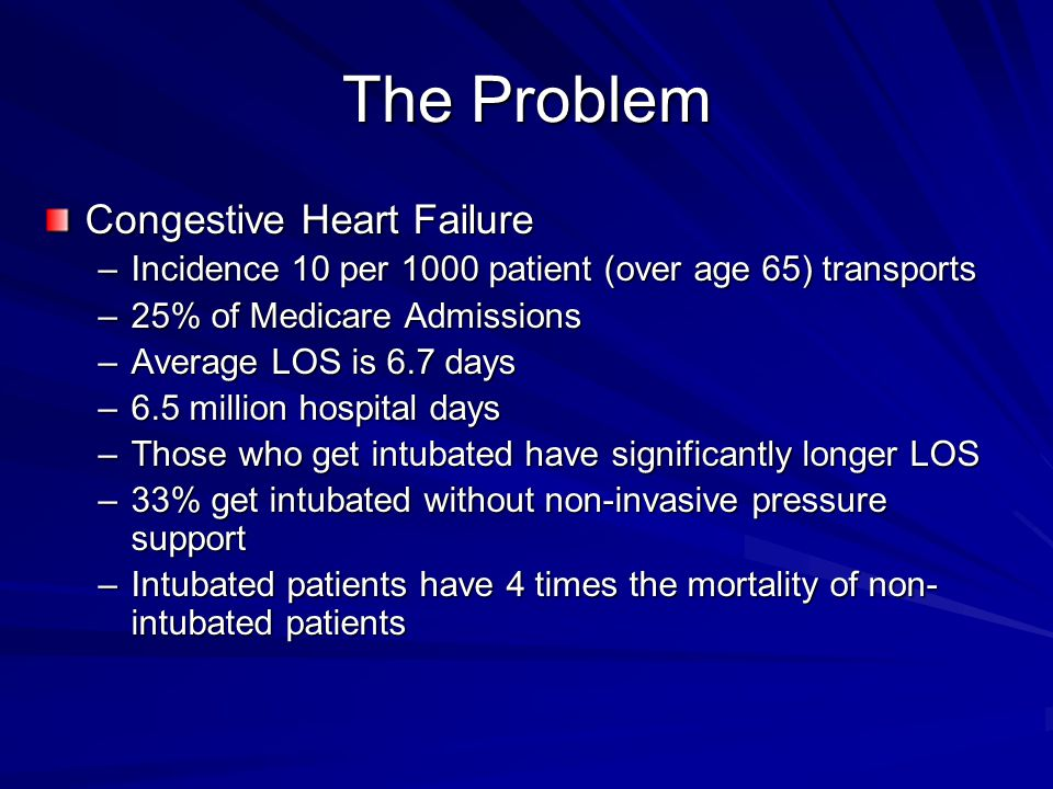 The Problem Congestive Heart Failure –Incidence 10 per 1000 patient (over age 65) transports –25% of Medicare Admissions –Average LOS is 6.7 days –6.5