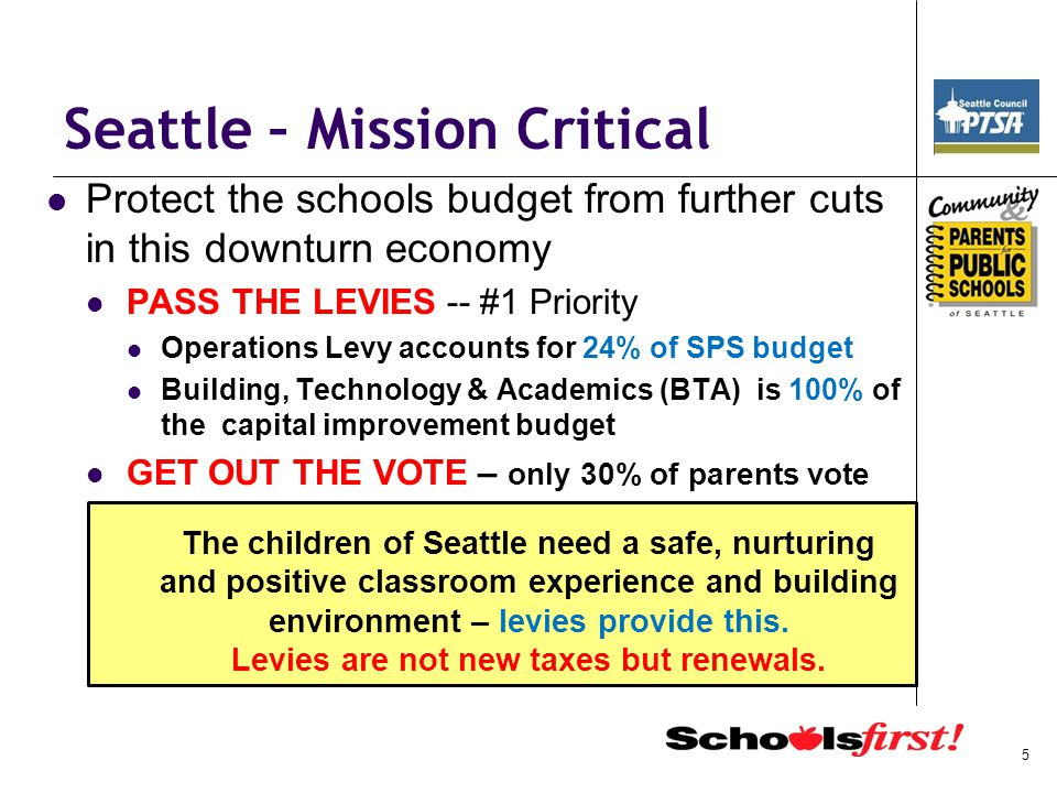 Seattle – Mission Critical Reject tax lids and restraints that affect Basic Ed -- Tim Eyman's Initiative 1033 Reduces State General Fund revenues by an estimated $5.9 billion by 2015 -Cuts to education, social, health and environmental services 41% of the General Fund goes to K-12 -- that's $2.4 billion – on top of the $1.4 billion that was just slashed Source: State of Washington Office of Financial Management Vote NO endorsed by: Washington State PTA, Seattle Council PTA, Schools First Board, League of Education Voters, AARP, League of Women Voters, Seattle School Board Directors and 210+ other organizations.