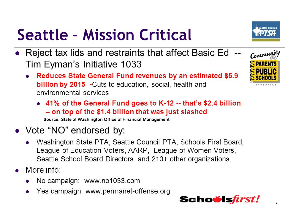 Seattle – Mission Critical Reject tax lids and restraints that affect Basic Ed -- Tim Eyman's Initiative 1033 Reduces State General Fund revenues by a