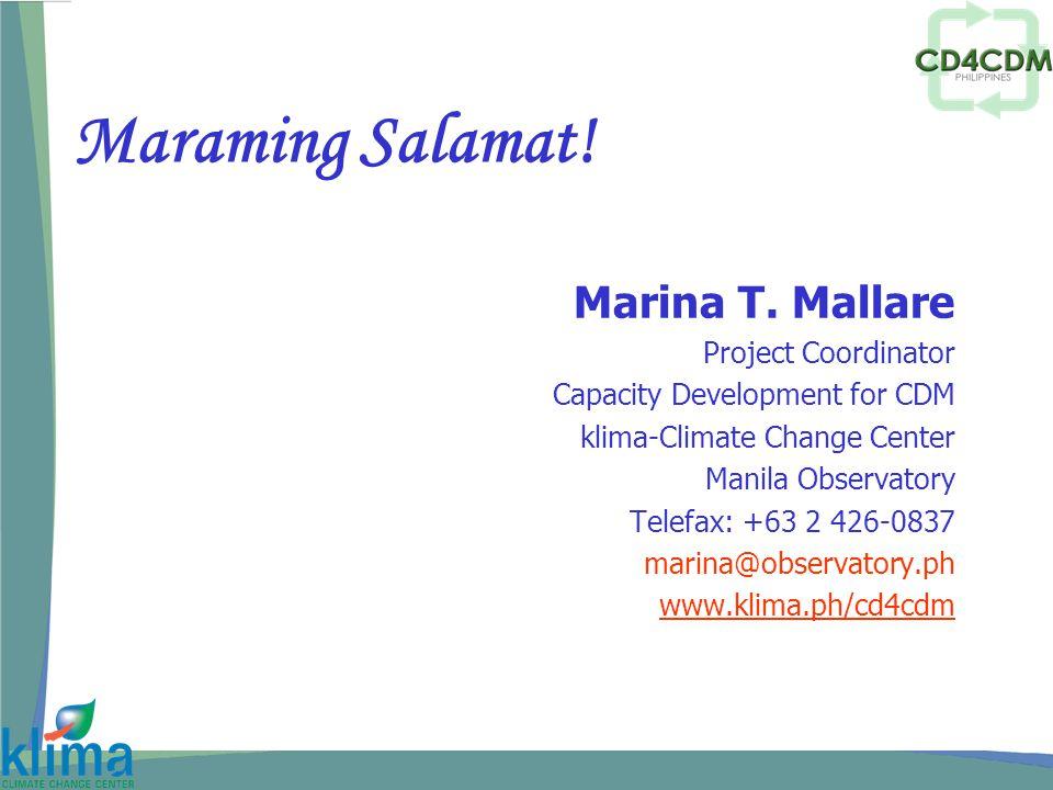 Maraming Salamat. Marina T.