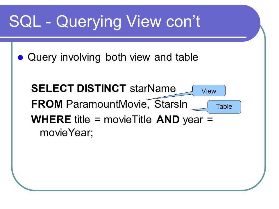 SQL - Querying View con't Query involving both view and table SELECT DISTINCT starName FROM ParamountMovie, StarsIn WHERE title = movieTitle AND year = movieYear; Table View