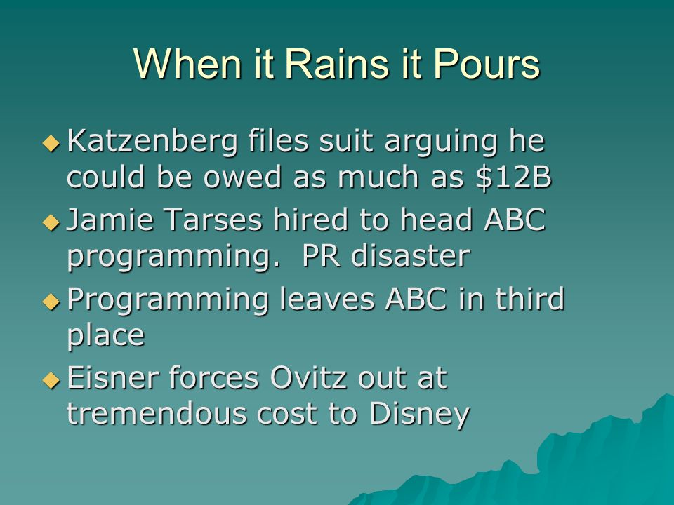 When it Rains it Pours  Katzenberg files suit arguing he could be owed as much as $12B  Jamie Tarses hired to head ABC programming.