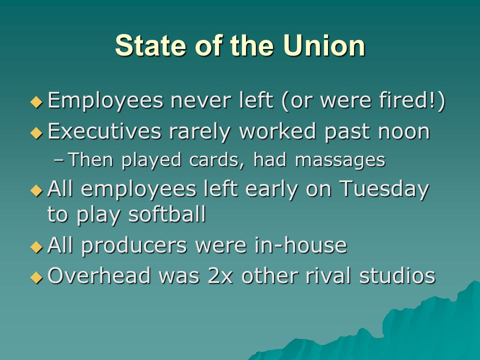 State of the Union  Employees never left (or were fired!)  Executives rarely worked past noon –Then played cards, had massages  All employees left early on Tuesday to play softball  All producers were in-house  Overhead was 2x other rival studios