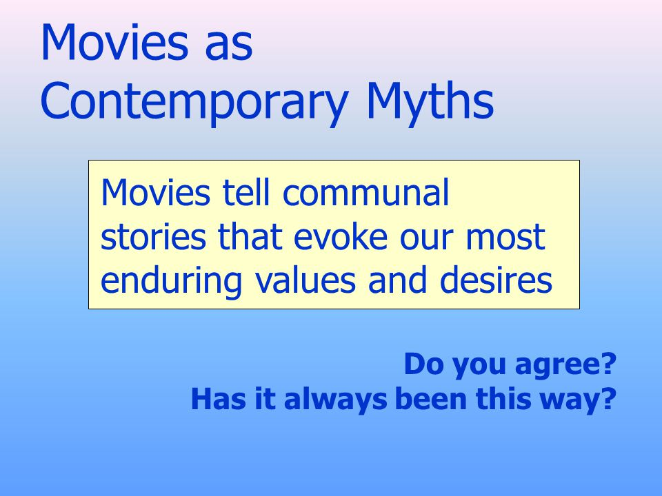 Movies as Contemporary Myths Do you agree. Has it always been this way.