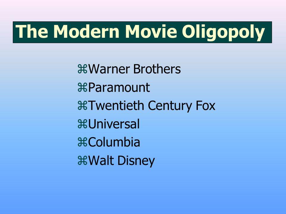 The Modern Movie Oligopoly zWarner Brothers zParamount zTwentieth Century Fox zUniversal zColumbia zWalt Disney
