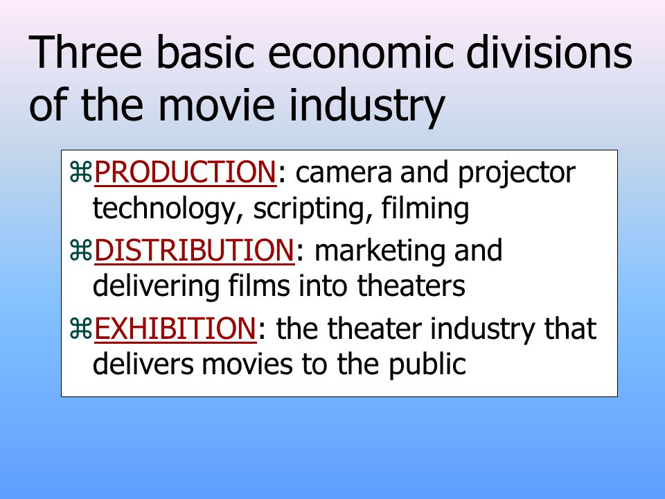 Three basic economic divisions of the movie industry zPRODUCTION: camera and projector technology, scripting, filming zDISTRIBUTION: marketing and delivering films into theaters zEXHIBITION: the theater industry that delivers movies to the public