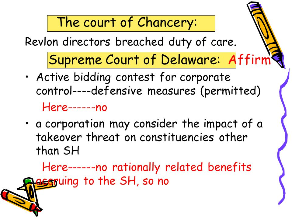 The court of Chancery: Revlon directors breached duty of care.