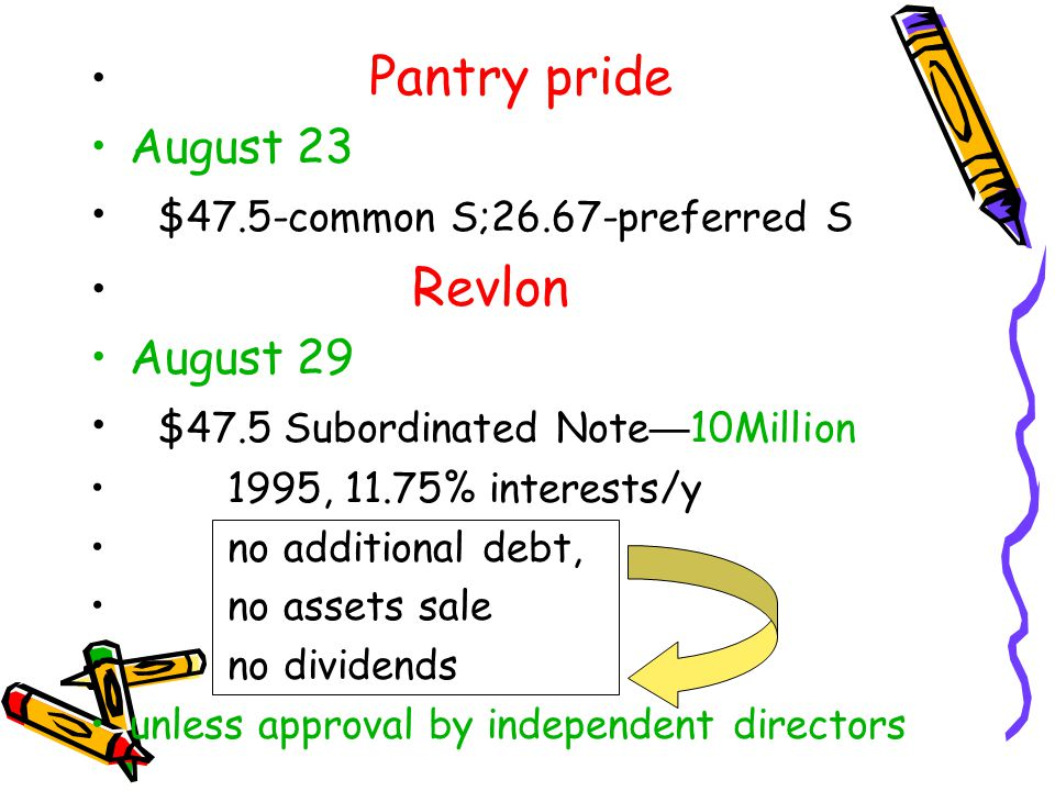 Pantry pride August 23 $47.5-common S;26.67-preferred S Revlon August 29 $47.5 Subordinated Note — 10Million 1995, 11.75% interests/y no additional debt, no assets sale no dividends unless approval by independent directors