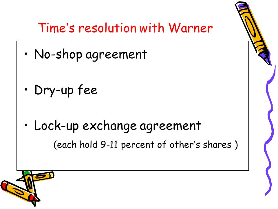 Time ' s resolution with Warner No-shop agreement Dry-up fee Lock-up exchange agreement (each hold 9-11 percent of other ' s shares )