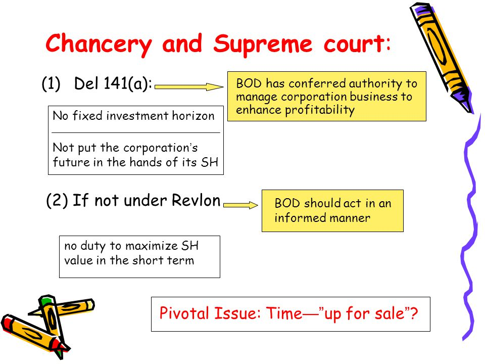 Chancery and Supreme court: (1)Del 141(a): (2) If not under Revlon BOD has conferred authority to manage corporation business to enhance profitability No fixed investment horizon Not put the corporation ' s future in the hands of its SH BOD should act in an informed manner no duty to maximize SH value in the short term Pivotal Issue: Time — up for sale