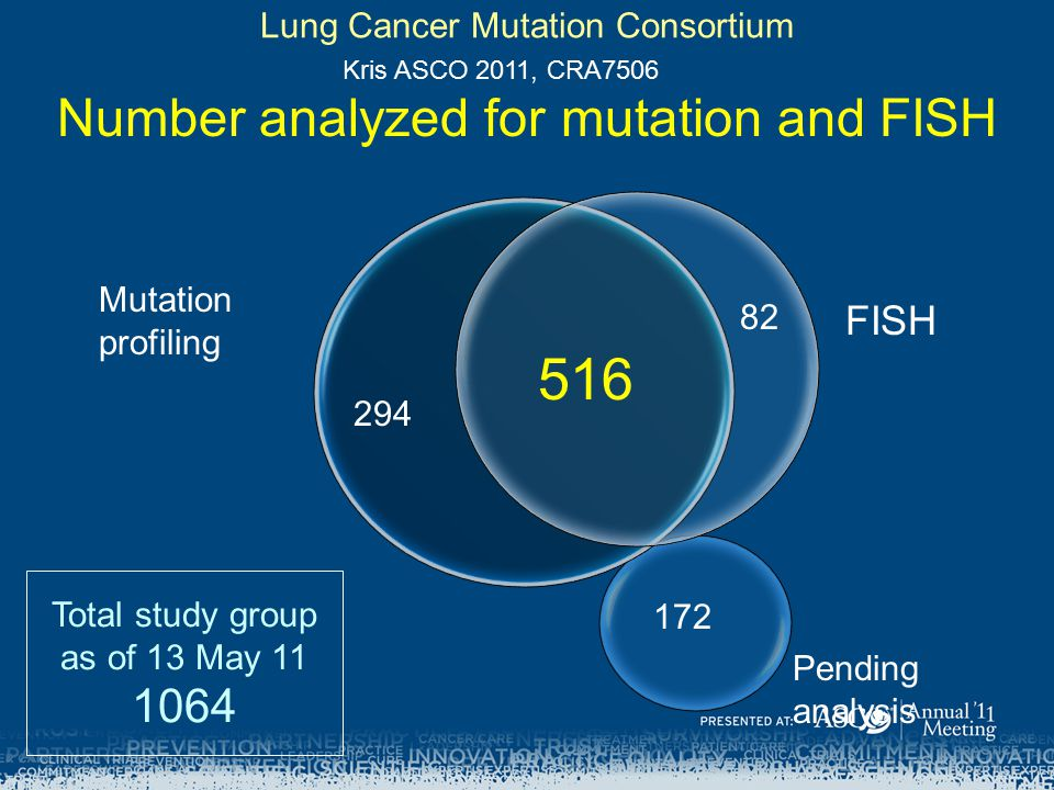 516 82 294 172 Mutation profiling FISH Pending analysis Lung Cancer Mutation Consortium Number analyzed for mutation and FISH Total study group as of