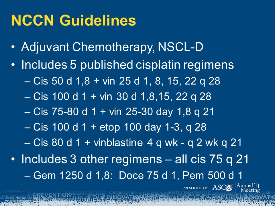 NCCN Guidelines Adjuvant Chemotherapy, NSCL-D Includes 5 published cisplatin regimens –Cis 50 d 1,8 + vin 25 d 1, 8, 15, 22 q 28 –Cis 100 d 1 + vin 30 d 1,8,15, 22 q 28 –Cis 75-80 d 1 + vin 25-30 day 1,8 q 21 –Cis 100 d 1 + etop 100 day 1-3, q 28 –Cis 80 d 1 + vinblastine 4 q wk - q 2 wk q 21 Includes 3 other regimens – all cis 75 q 21 –Gem 1250 d 1,8: Doce 75 d 1, Pem 500 d 1