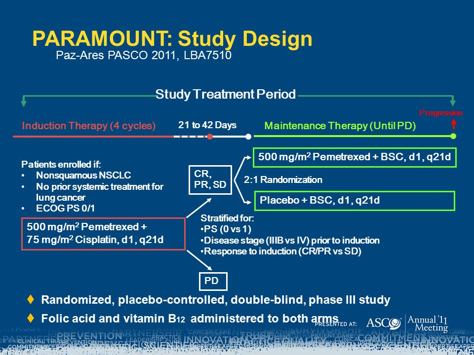 PARAMOUNT: Study Design  Randomized, placebo-controlled, double-blind, phase III study  Folic acid and vitamin B 12 administered to both arms Study