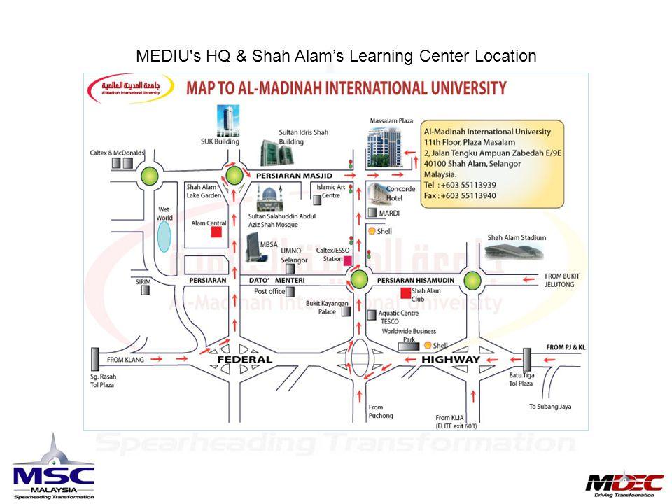 MEDIU's HQ & Shah Alam's Learning Center Location