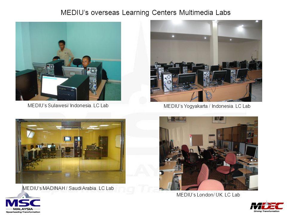 MEDIU's overseas Learning Centers Multimedia Labs MEDIU's Sulawesi/ Indonesia. LC Lab MEDIU's Yogyakarta / Indonesia. LC Lab MEDIU's MADINAH / Saudi A