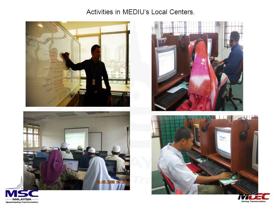 Activities in MEDIU's Local Centers.