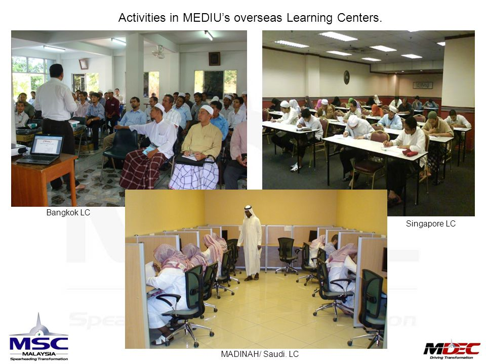 Activities in MEDIU's overseas Learning Centers. Bangkok LC Singapore LC MADINAH/ Saudi. LC