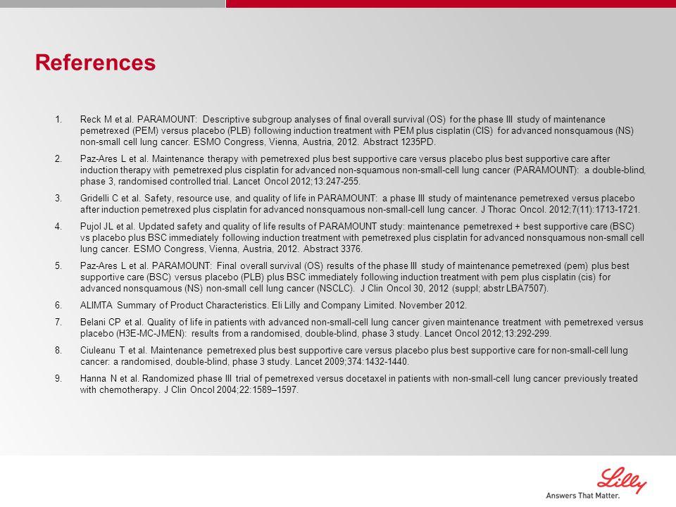 References 1.Reck M et al.