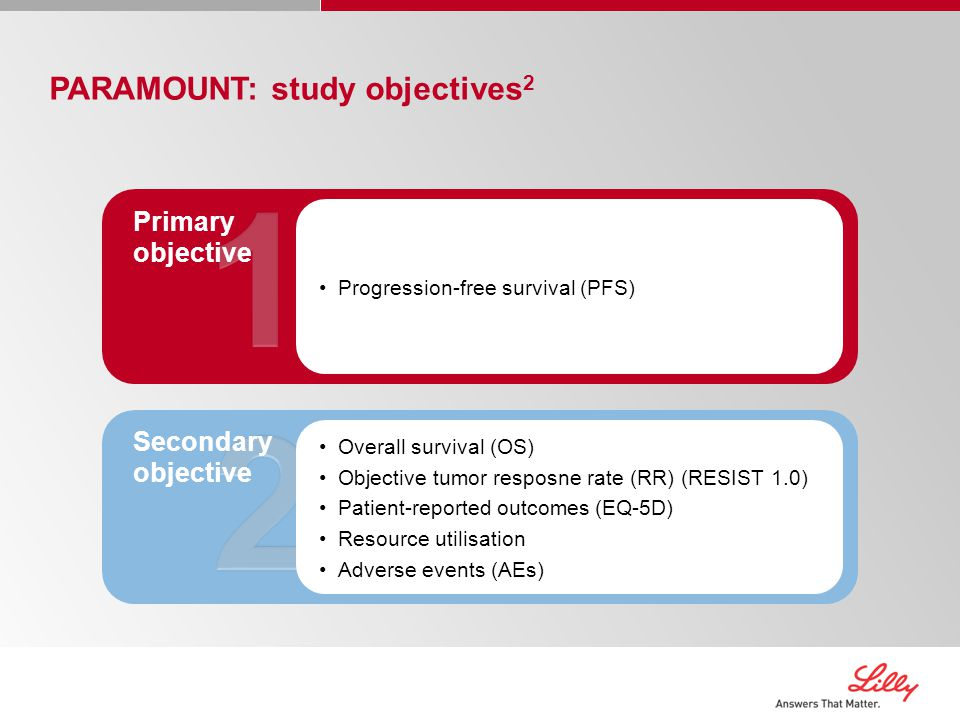PARAMOUNT: study objectives 2 Progression-free survival (PFS) Primary objective Overall survival (OS) Objective tumor resposne rate (RR) (RESIST 1.0) Patient-reported outcomes (EQ-5D) Resource utilisation Adverse events (AEs) Secondary objective