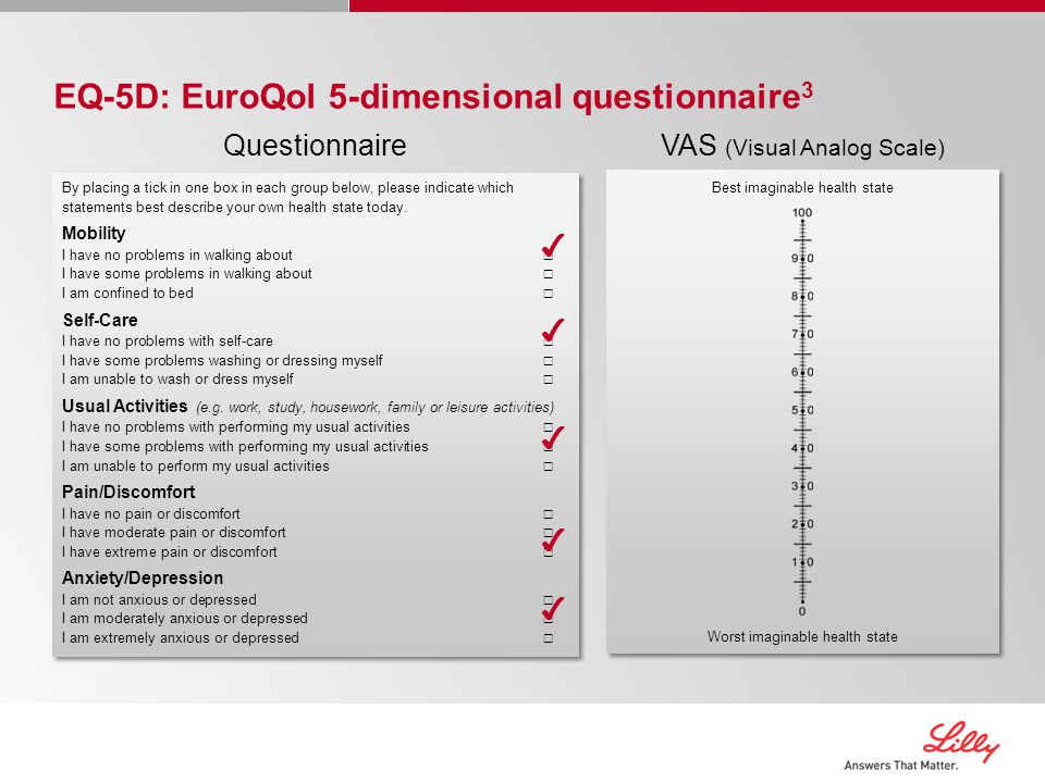 EQ-5D: EuroQol 5-dimensional questionnaire 3 Questionnaire By placing a tick in one box in each group below, please indicate which statements best describe your own health state today.