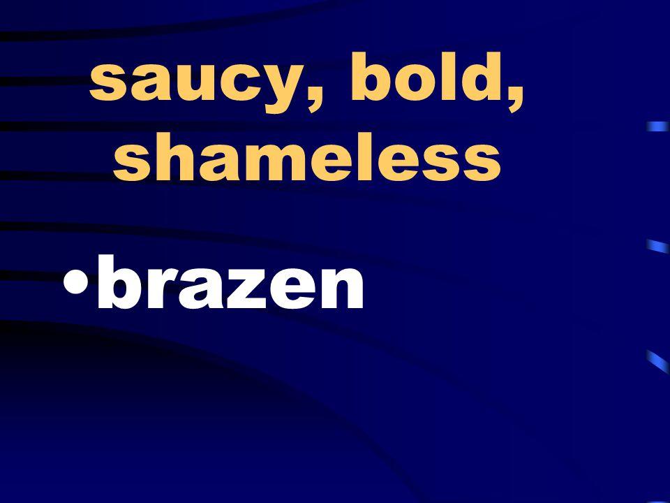 saucy, bold, shameless brazen