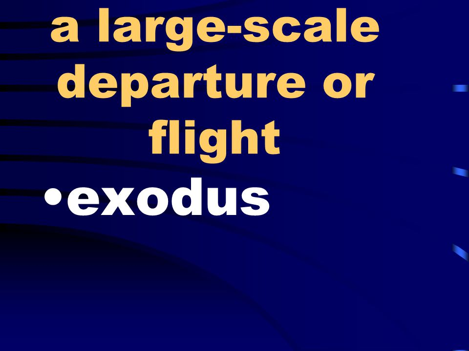 a large-scale departure or flight exodus