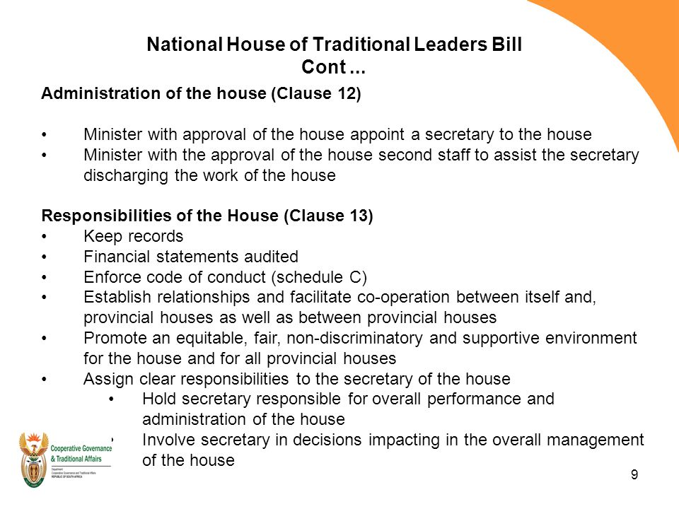 9 National House of Traditional Leaders Bill Cont...