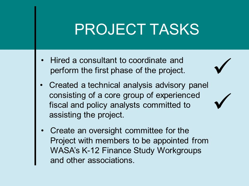 PROJECT TASKS Hired a consultant to coordinate and perform the first phase of the project.