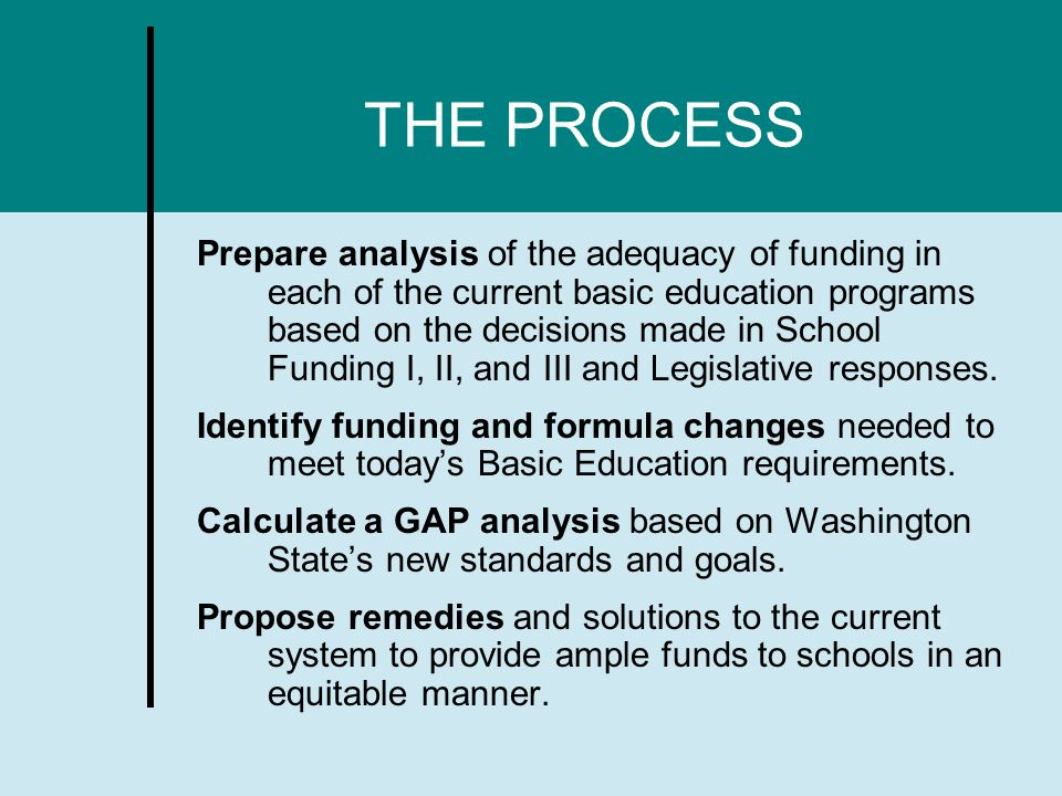 THE PROCESS Prepare analysis of the adequacy of funding in each of the current basic education programs based on the decisions made in School Funding I, II, and III and Legislative responses.