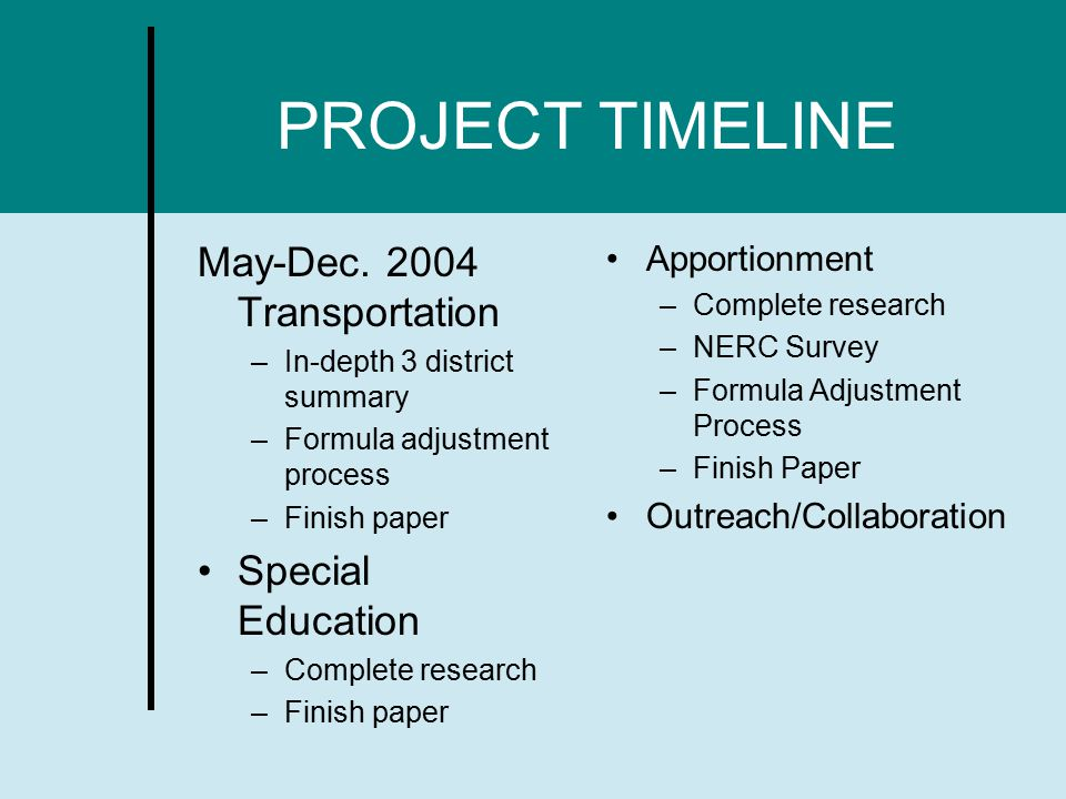 PROJECT TIMELINE May-Dec.
