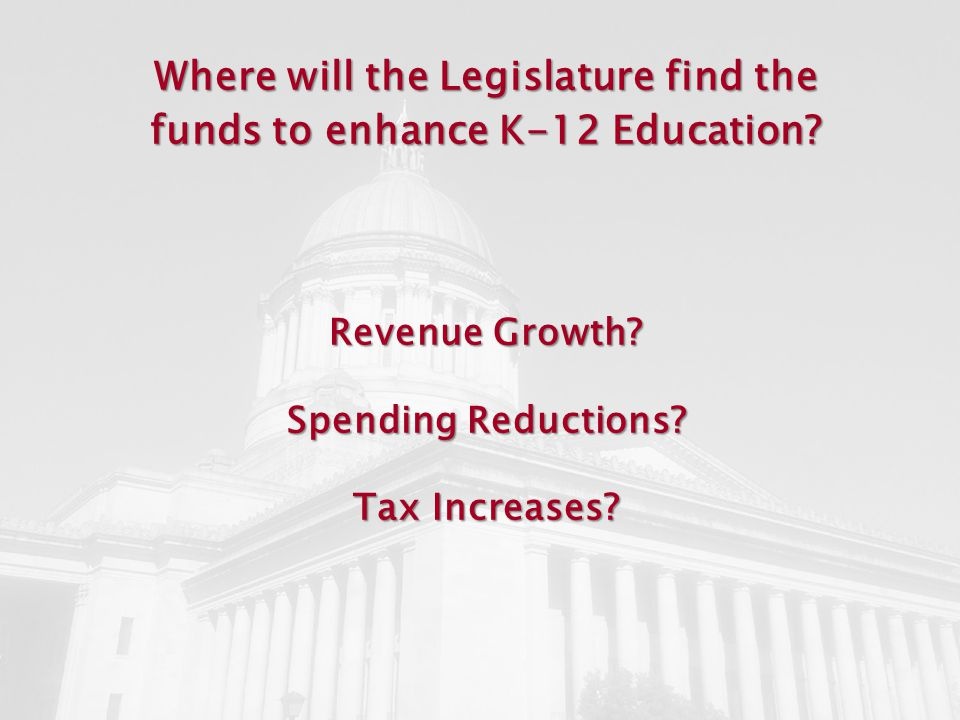 Where will the Legislature find the funds to enhance K-12 Education.