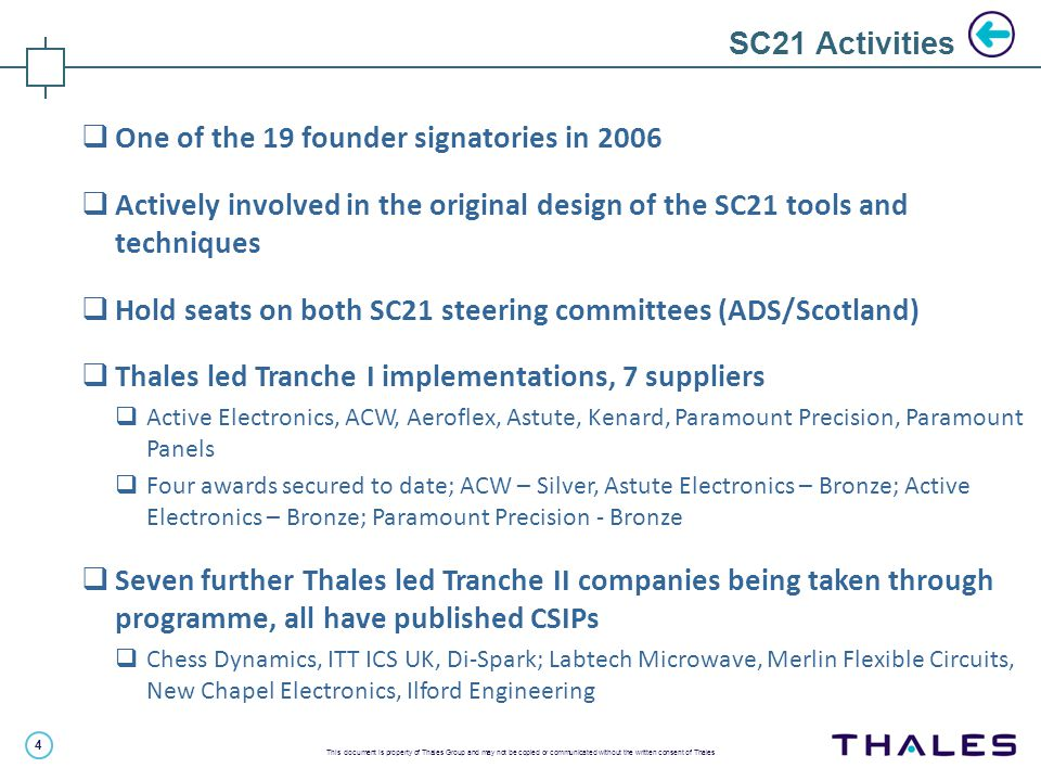 4 This document is property of Thales Group and may not be copied or communicated without the written consent of Thales SC21 Activities  One of the 1