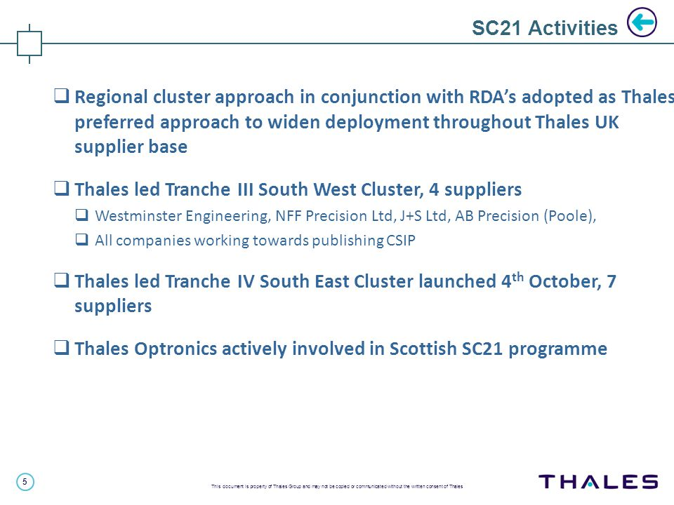5 This document is property of Thales Group and may not be copied or communicated without the written consent of Thales SC21 Activities  Regional cluster approach in conjunction with RDA's adopted as Thales preferred approach to widen deployment throughout Thales UK supplier base  Thales led Tranche III South West Cluster, 4 suppliers  Westminster Engineering, NFF Precision Ltd, J+S Ltd, AB Precision (Poole),  All companies working towards publishing CSIP  Thales led Tranche IV South East Cluster launched 4 th October, 7 suppliers  Thales Optronics actively involved in Scottish SC21 programme