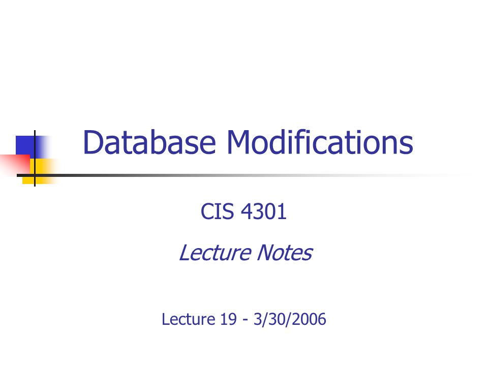 Lecture 19© CIS 4301 - Spring 20062 Recall Join Expressions Cartesian Product: Multiple relations in the FROM clause Join: Specify join condition in WHERE clause Remember, when specifying join condition, only tuples which satisfy join condition will be selected Example R NATURAL JOIN S If a tuple t from R does not match any tuple s from S, all trace of t will disappear from result Could pose problems – when?