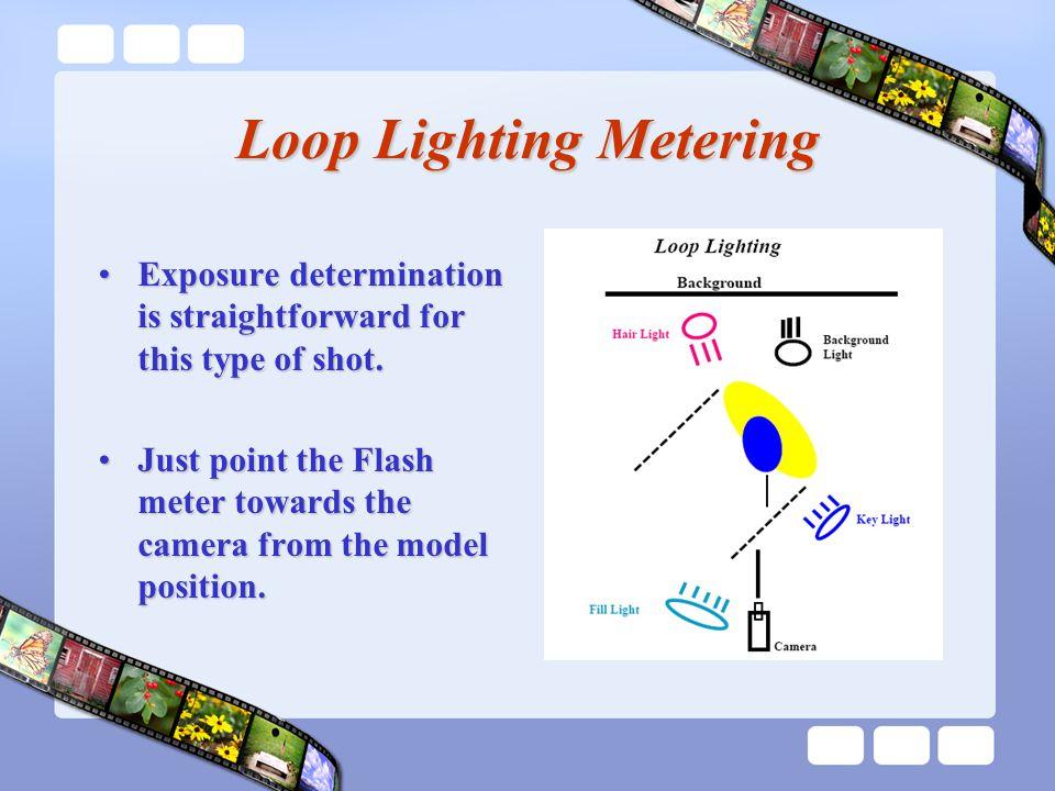 Loop Lighting Metering Exposure determination is straightforward for this type of shot.Exposure determination is straightforward for this type of shot.