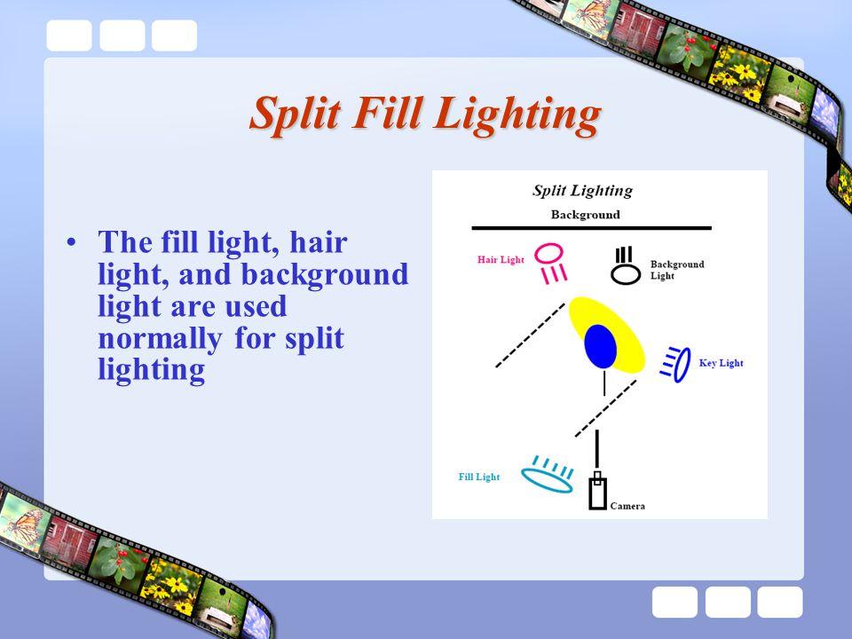 Split Fill Lighting The fill light, hair light, and background light are used normally for split lighting