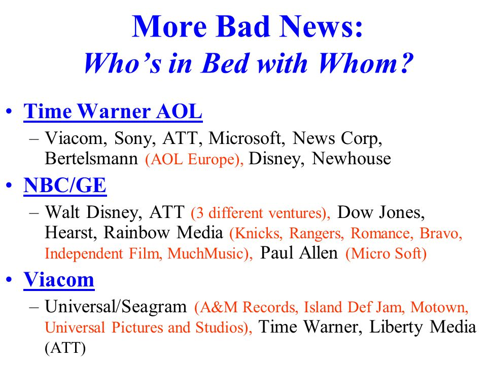 More Bad News: Who's in Bed with Whom.