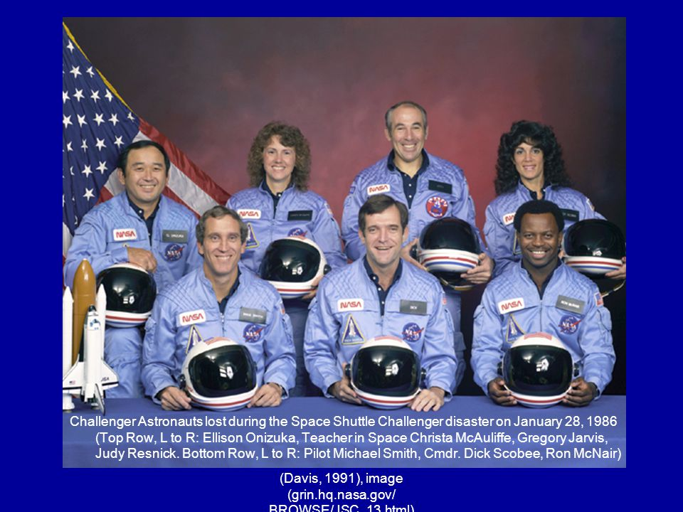 (Davis, 1991), image (grin.hq.nasa.gov/ BROWSE/JSC_13.html) Challenger Astronauts lost during the Space Shuttle Challenger disaster on January 28, 198